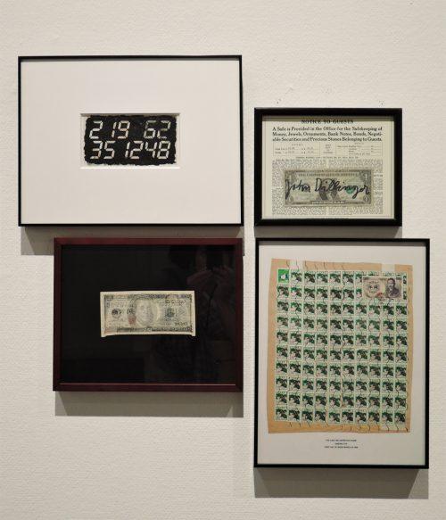 左上:宮島達男「Over Economy」 左下:あるがせいじ「無題」 右上:ヨーゼフ・ボイス「お客様へのお知らせ」 右下:太田三郎「The 1,000-Yen Definitive Stamp」
